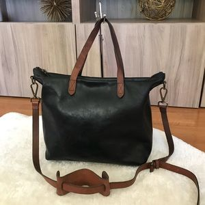 Madewell  Zip Transport Black Leather Tote